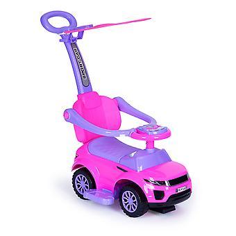 Loopwagen met duwstang roze