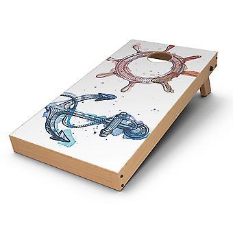 Nautical Pen And Watercolor Cornhole Board Skin Decal Kit
