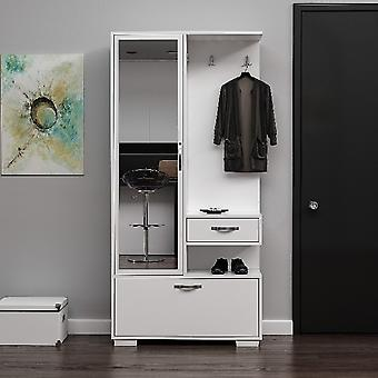 Mobile Ingresso Alda, Colore Bianco in Truciolare Melaminico, L90xP35xA184 cm