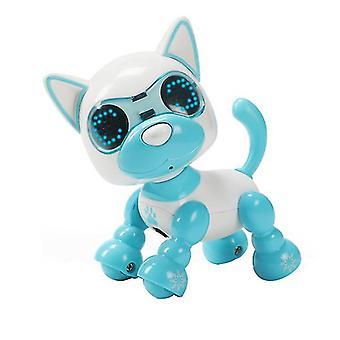 Lasten älykäs lemmikkikoiran induktio koskettaa sähköle lelua (sininen)