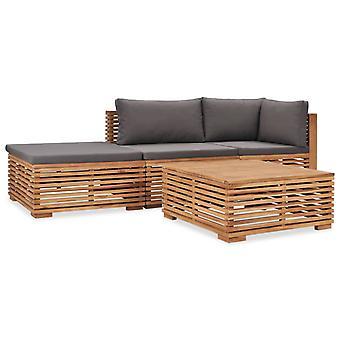 vidaXL 4 أجهزة الكمبيوتر الشخصية. صالة حديقة مجموعة مع منصات خشب الساج الخشب الصلب