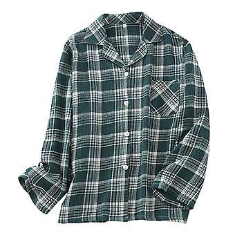 YANGFAN Men's Plaid Pyjama Set Cotton Long Sleeve Sleepwear Tops and Pants