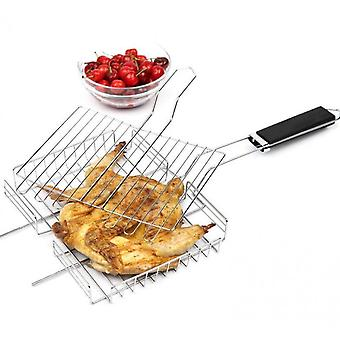 Fish Grilling Basket, Folding Portable Stainless Steel Bbq Grill Basket