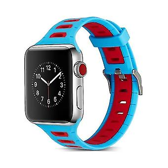 Two-tone T-shaped silicone strap for Apple Watch series 3 & 2 & 1 42 mm blue + red