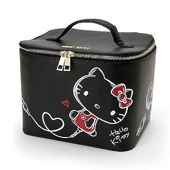 Schattige cartoon zwarte kat grote make-up doos met spiegel lederen cosmetische tas beauty case