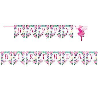 Blommig Fairy Tema Födelsedag Banner - 1 levereras - Barn fest leveranser