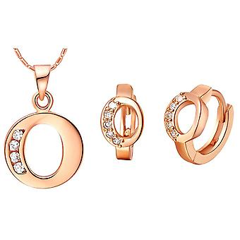(O)  Alphabet Rhinestone Womens 26 Initial Letter Huggie Earrings Necklace Jewelry Set Rose Gold