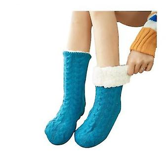 Ladies Foot Warmer Soft Socks Winter Warm Cotton Socks Household Foot Warmer(Blue)