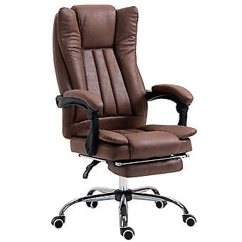 Vinsetto Executive Office Chair Micro Fiber Computer Desk Chair for Home with Arm, Swivel Wheels, Footrest, Brown