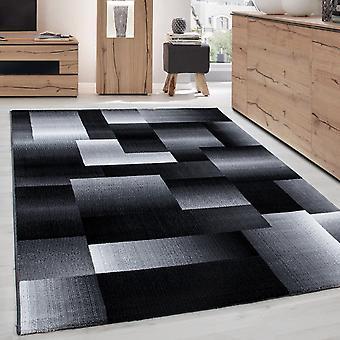 Modern Design Teppich Kurzflor Abstrakt Kariert Muster Schwarz Grau Weiß