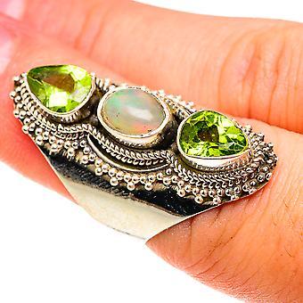 Grande opale éthiopienne naturelle, bague péridot taille 6 (argent sterling 925) - Bijoux vintage boho faits à la main RING76260