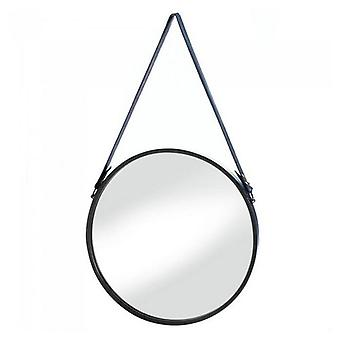 Accent Plus Round Hanging Wall Mirror with Faux Leather Strap, Pack of 1