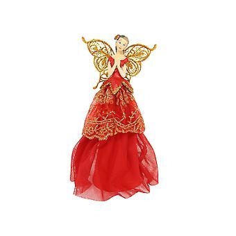 23cm Gisela Graham Red & Gold Christmas Fairy Tree Topper