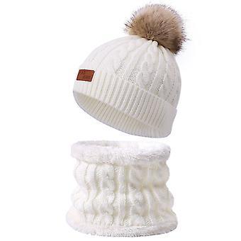 צעיף צמר פעוט וכובע סט חורף מעוות יחיד פונפון סרוג כובע ורוד כהה