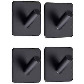 4pcs, Self Adhesive Towel Hook, Self Adhesive Towel Hook With Black Stainless Steel Bathroom And Kitchen Hook