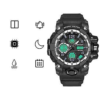 Men's Army Military Sports Dual Time Alarm Waterproof Digital Led Analog Mens Watch(black)