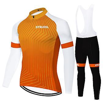 Strava Men's Long Sleeve Cycling Jersey Set Pants With 3d Suspender Pants - Orange