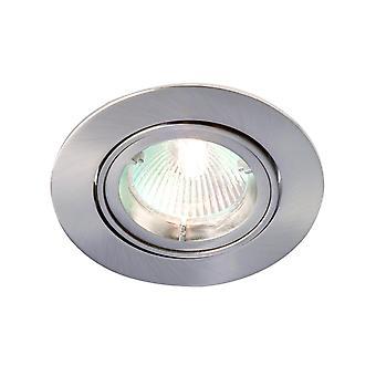 LED Robus Zak GU10 240V Twist & Lock Adjustable Downlight, Brushed Chrome