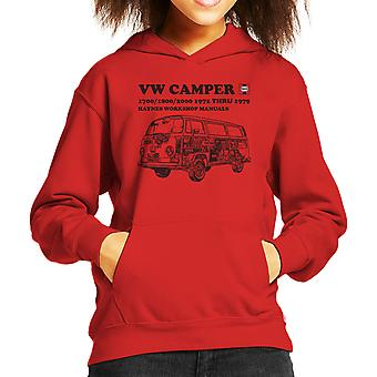 Haynes Workshop Manual VW Camper 72 To 79 Black Kid's Hooded Sweatshirt