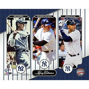 NY Yankees Legacy Collection Lou Gehrig Thurman Munson & Derek Jeter foto afdrukken