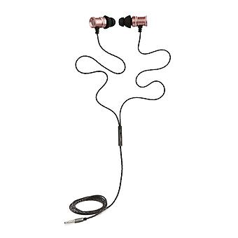 REYTID In-Ear Earphones Headphones - HD Sound - DEEP Bass with Metal 1-button Mic - Compatible avec iPhone et Android - Rose Gold / Pink