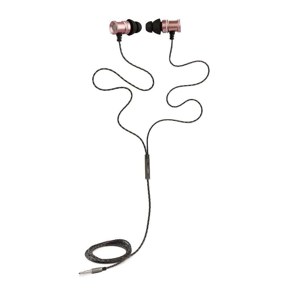 REYTID In-Ear Earphones Headphones - HD Sound - DEEP Bass with Metal 1-button Mic - Compatible with iPhone and Android - Rose Gold / Pink
