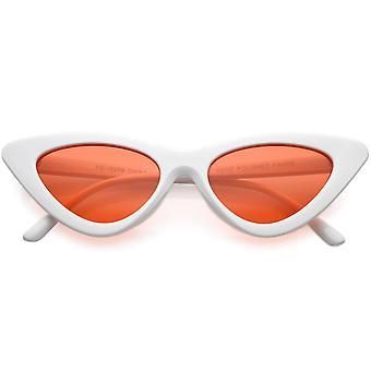 Womens overdrevet slank hvit ramme Cat Eye solbriller farge farget linse 48mm