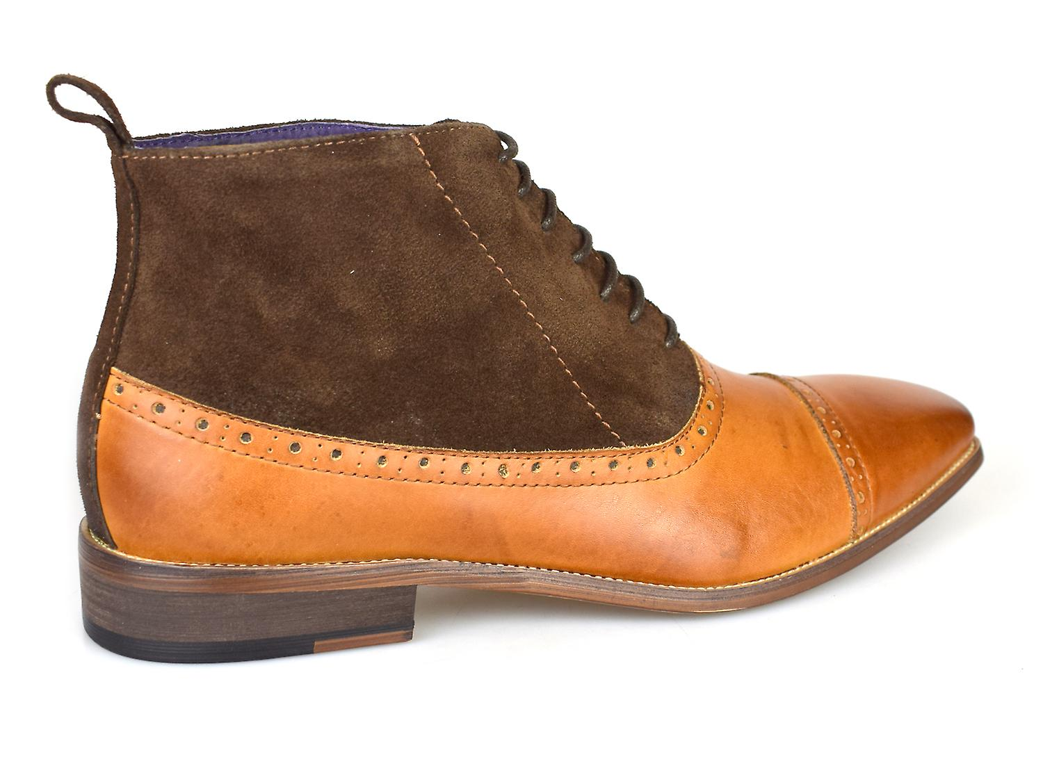 Gucinari Luciano Tan & Brown Leather Formal Brogue Boots D273-4