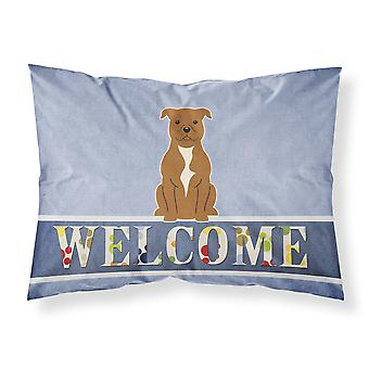 Staffordshire Bull Terrier Brown Welcome Fabric Standard Pillowcase
