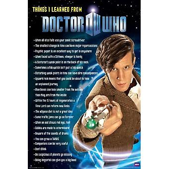 Doctor Who - Things I Learned Poster Poster Print