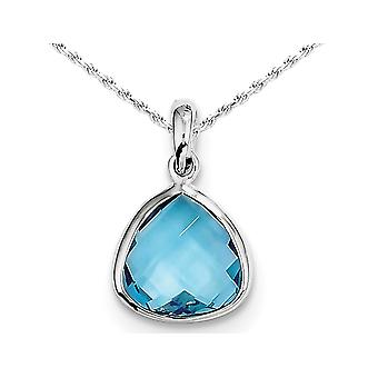 Swiss Blue Topaz Pendant Necklace 4.00 Carat (ctw) in Sterling Silver