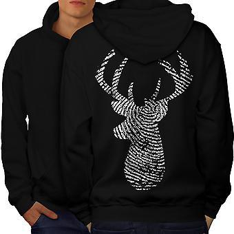 Herten vinger afdrukken dierlijke mannen BlackHoodie rug | Wellcoda