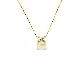 Yellow Gold Women's Pendant Necklace 375/1000 and Golden Culture Pearl 5885