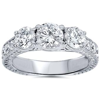 2ct Vintage drei Stein Runde Diamant Verlobungsring 14K White Gold