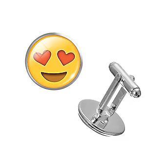Kærlighed øjne par Emoji manchetknapper hjertet i kærlighed gule sjov Party skjorte manchetknapper