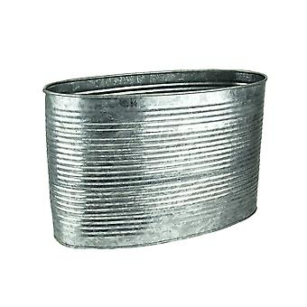 8 Inch Tall Oval Galvanized Zinc Finish Metal Planter