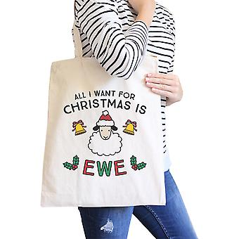 All I Want For Christmas Is Ewe Humorous Canvas Shoulder Bag Cotton