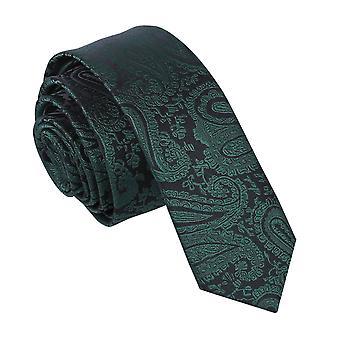 Emerald Green Paisley Skinny Tie