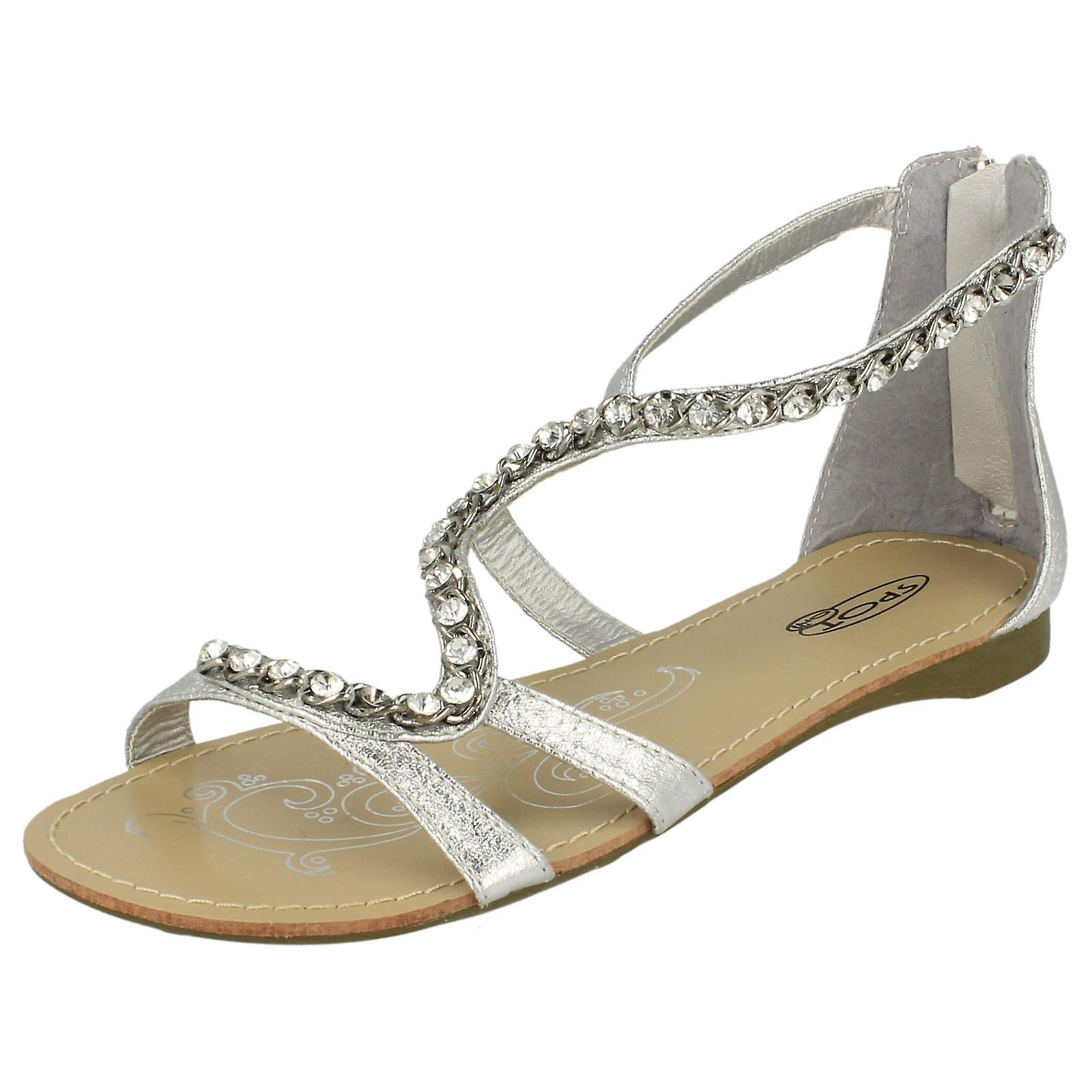 Ladies Spot On Flat Sandals with Back Zip and Jewelled Snake Strap 0rsfM