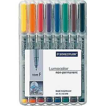 Staedtler OHP pen Lumocolor® 316 WP8 Blauw, Bruin, Geel, Groen, Oranje, Rood, Zwart, Violet