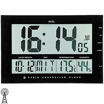 Wireless wall clock table clock digital clock displays time, date, temperature AMS