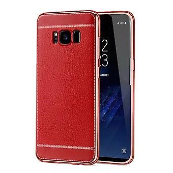Caso de telefone celular para Samsung Galaxy S8 plus estojo + saco casos falso couro vermelho