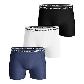 Bjorn Borg Essential Solid Shorts 3 Pack - Blue Depths
