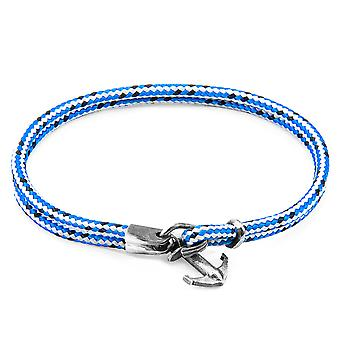 Anchor & Crew Blue Dash Brighton Silver and Rope Bracelet