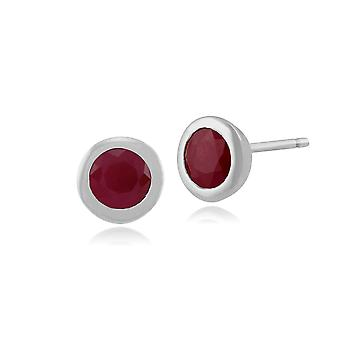 Classic Round Ruby Bezel Set Stud Earrings in 9ct White Gold 117E0116019