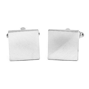 David Van Hagen Brushed Angled Square Cufflinks - Silver