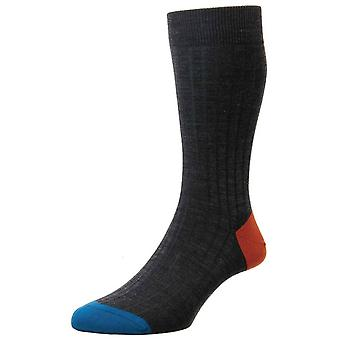 Pantherella Stratford Contrast Heel and Toe Merino Wool Socks - Charcoal/Blue/Orange