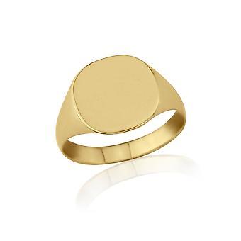 Servilletero de estrellas en forma de cojín 9ct anillo de Signet de amarillo oro ligero