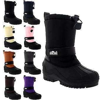 Unisex Kids Pull On Drawstring Closure Nylon Winter Snow Rain Fur Boots UK 9-6