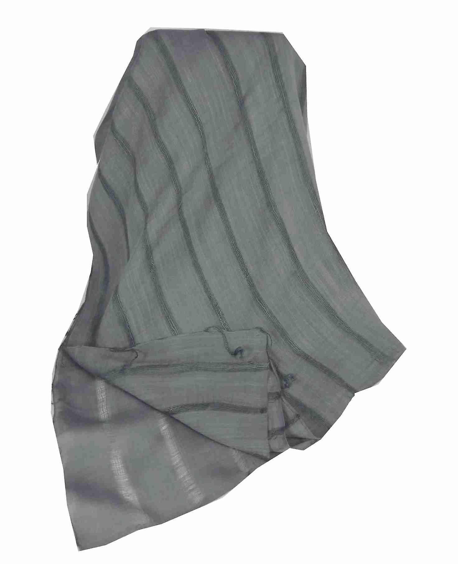 Vietnamese Long Silk Scarf Hue Weave Charcoal by Pashmina & Silk